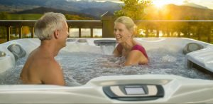 Older couple enjoying a hot tub