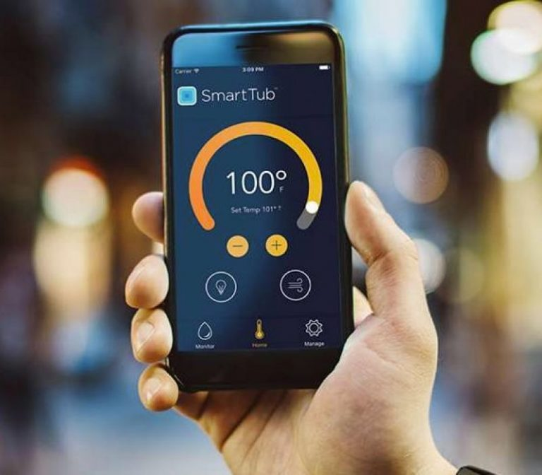 Smart Tub Phone Application example page